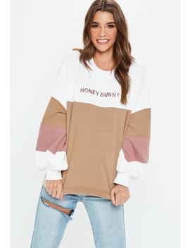 Petite White Honey Bunny Colour Block Sweatshirt by Missguided
