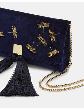 Embellished Velvet Tassel Clutch by Ted Baker