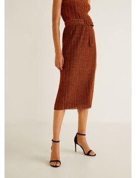 Belt Metal Thread Skirt by Mango