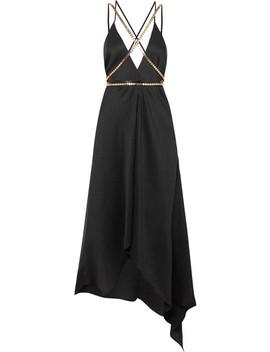 Artemis Embellished Plissé Silk Georgette Midi Dress by Elena Makri