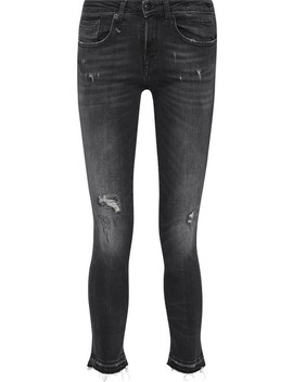 Alison Distressed Low Rise Skinny Jeans by R13