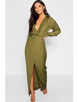 Petite Utility Pocket Front Maxi Dress by Boohoo