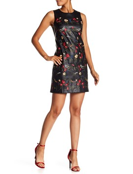 Floral Embroidered Faux Leather Dress by Modern American Designer