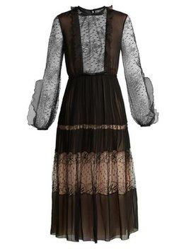 Bow Embellished Lace And Silk Midi Dress by Giambattista Valli
