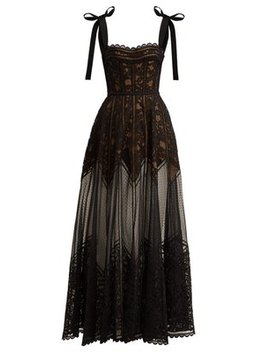 Floral And Ladder Lace Gown by Elie Saab