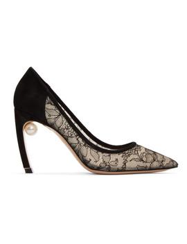 Black Lace Mira Pearl Heels by Nicholas Kirkwood