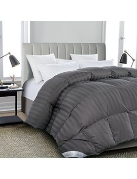 Rosecose Luxurious All Seasons Goose Down Comforter King Size Duvet Insert Gray Stripe 1200 Thread Count 750+ Fill Power 100 Percents Cotton Shell Hypo Allergenic Down Proof With Tabs (King,Gray Stripe) by Rosecose