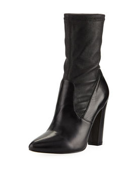 May Stretchy Leather Booties by Neiman Marcus