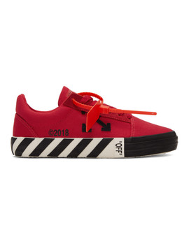Red Striped Vulcanized Sneakers by Off White