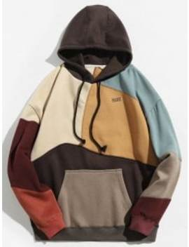 Colorblock Sewing Patchwork Fleece Hoodie   Khaki M by Zaful
