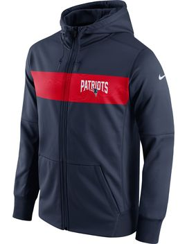 Nike Men's New England Patriots Sideline Therma Fit Navy Full Zip Hoodie by Nike