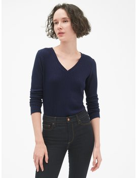 Softspun Ribbed Long Sleeve V Neck T Shirt by Gap