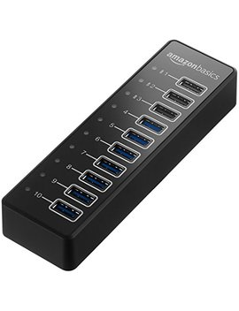 Amazon Basics Usb A 3.1 10 Port Hub With Power Adapter   65 W (20 V/3.25 A), Black by Amazon Basics