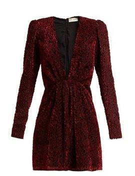 Plunge Neck Velvet Devoré Mini Dress by Saint Laurent