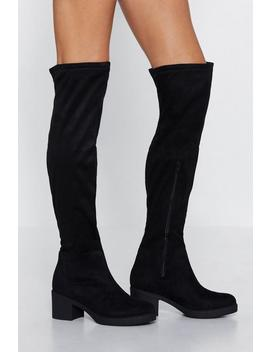 Knee Socks Faux Suede Boot by Nasty Gal