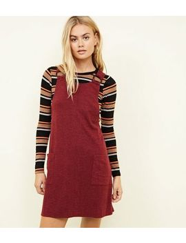 Burgundy Cross Hatch Round Buckle Pinafore Dress by New Look