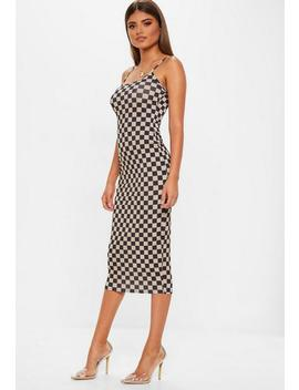 Multi Printed Checkerboard Midi Dress by Missguided