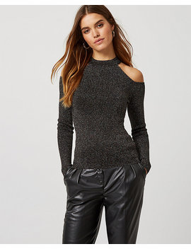 Metallic Knit Cold Shoulder Sweater by Le Chateau