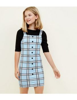 Girls Blue Check Button Front Bodycon Pinafore Dress by New Look