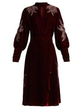Josephine Velvet Beaded Midi Dress by Dodo Bar Or