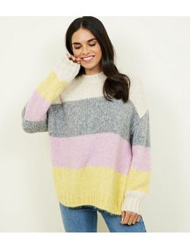 Cream Pastel Colour Block Stripe Jumper by New Look