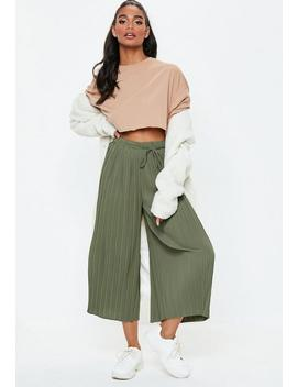 Khaki Pleated Culottes by Missguided