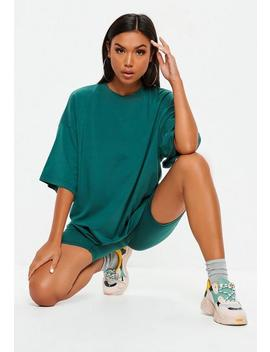 Petite Teal Drop Shoulder Oversized T Shirt by Missguided