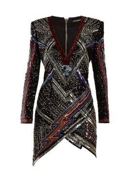 Lightening Bolt Split Hem Sequined Mini Dress by Balmain