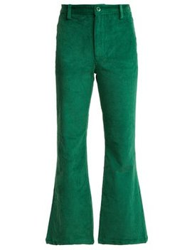 Hall Cropped Kick Flare Corduroy Trousers by Staud