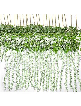 T Rvancat Artificial Wisteria Hanging Vine 12 Pack 3.6 Ft/Pcs, Fake Silk Flowers In Natural Chain Garland For Outdoor Wedding Ceremony Arch Party Home Garden Decor (White) by T Rvancat