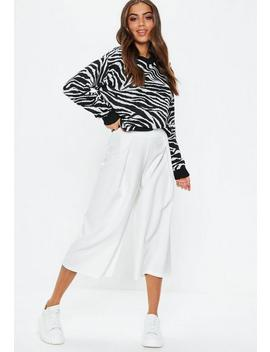 White Premium Pleat Front Culottes by Missguided