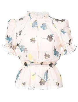 Floral Ruffle Peplum Top by Self Portrait