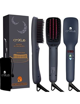 Ionic Hair Straightener Brush, Cnxus Mch Ceramic Heating + Led Display + Adjustable Temperatures + Anti Scald Hair Straightening Brush, Portable Frizz Free Hair Care Silky Straight Heated Comb by Cnxus