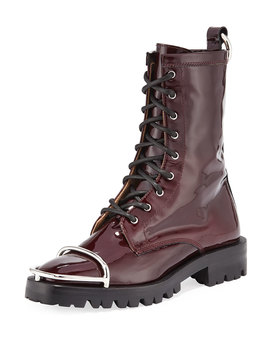 Kennah Patent Leather Combat Boots With Brush Guard by Alexander Wang