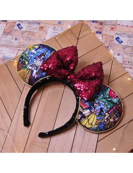 Beauty And The Beast Mouse Ears, Beauty And The Beast Minnie Ears, Belle Mouse Ears, Custom Ears, Sequin Bow, Disney Ears, Gift, Handmade by Etsy