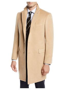 Men's Cashmere Car Coat, Camel Beige by Neiman Marcus