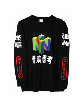 Nintendo N64 Long Sleeve T Shirt Top Vaporwave Japanese New by Printed