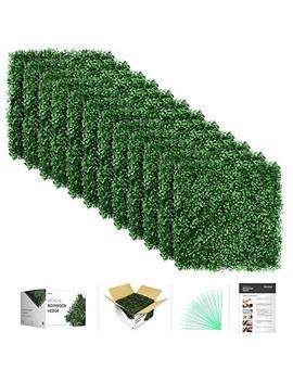 "Flybold Artificial Boxwood Panels Topiary Hedge Plant Uv Protected Privacy Screen Outdoor Indoor Use Garden Fence Backyard Home Decor Greenery Walls Pack Of 12 Pieces 20"" X 20"" Inch Dark Green by Flybold"