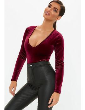 Burgundy Velvet Deep Plunge Bodysuit by Missguided