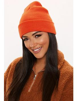Orange Plain Beanie Hat by Missguided