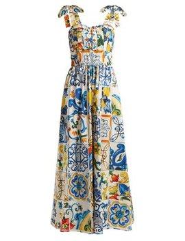 Majolica Print Cotton Poplin Jumpsuit by Dolce & Gabbana