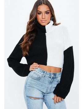 Monochrome Spliced Roll Neck Cropped Jumper by Missguided