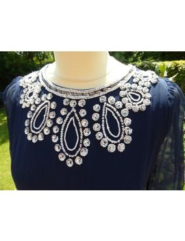 French Connection Beaded Navy Silk Shift Dress 12 Vgc Party Summer Wedding by Ebay Seller