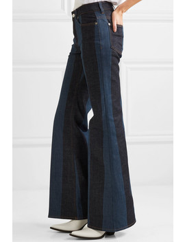 Striped Denim Mid Rise Flared Jeans by Sonia Rykiel