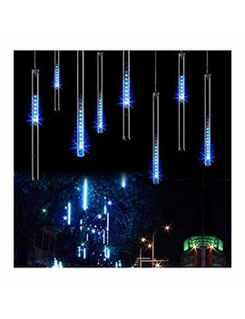 Omgai Waterproof Meteor Shower Rain Lights   30cm 8 Tubes Drop Icicle Snow Falling Raindrop Cascading Lights For Wedding Party Christmas, Shine Blue (Ul Listed Plug) by Omgai