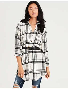 Ae Plaid Button Down Shirt Dress by American Eagle Outfitters