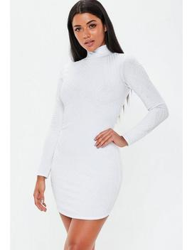 White High Neck Caviar Beaded Mini Dress by Missguided