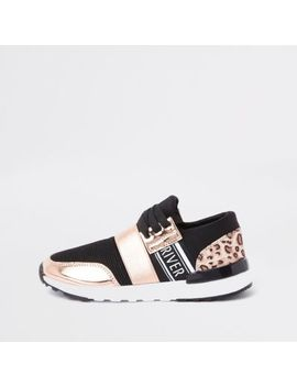 Girls Gold Leopard Print Runner Trainers by River Island