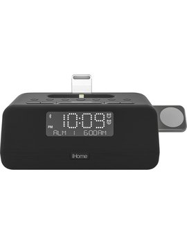 Fm Docking Dual Alarm Clock Radio With Apple Watch Charger   Black by I Home