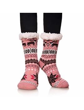 Miubear Women Girls Christmas Gift Sock Super Soft Warm Fuzzy Snowflake Animal Slipper Socks Fleece Lined Winter Socks by Miubear